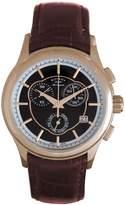 Rotary Men's Les Originales Dark Brown Genuine Leather Chrono Black Dial GS90046-06