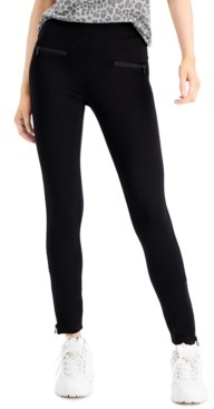 Rewash Juniors' High-Waist Zipper-Detail Ponte Leggings
