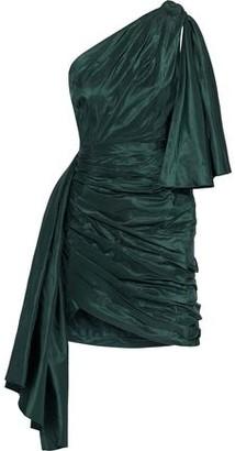 Oscar de la Renta One-shoulder Knotted Silk-taffeta Mini Dress