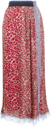 Koché Leopard-Print Pleated Skirt
