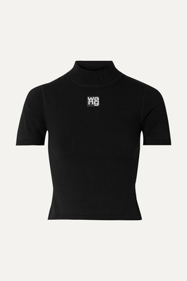 Alexander Wang Appliqued Cropped Stretch-jersey Turtleneck Top