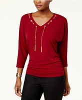JM Collection Chain-Trim Dolman-Sleeve Top, Created for Macy's