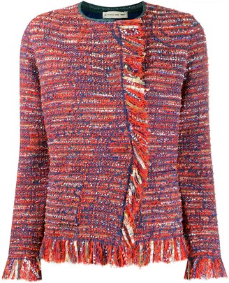 Etro fringed tweed jacket