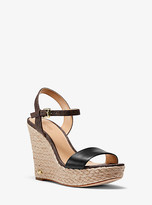 Michael Kors Jill Logo and Leather Wedge