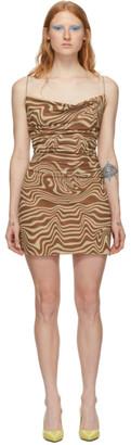 BEIGE Maisie Wilen Brown and Mesh Slip Dress