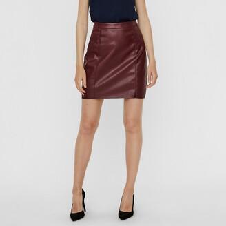 Vero Moda Faux Leather Mini Skirt with High Waist
