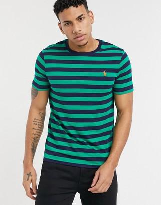 Polo Ralph Lauren player logo stripe t-shirt in scarab green & navy