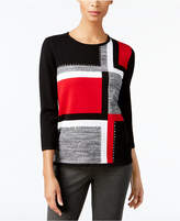 Alfred Dunner Talk of The Town Petite Colorblocked Sweater