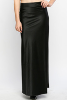 Line & Dot Black Satin Maxi Skirt