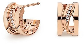Bvlgari B.zero1 Design Legend 18K Rose Gold & Pave Diamond Hoop Earrings