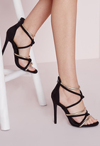 Missguided Knot Front Heeled Sandals Black