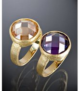 Jardin set of 2 - olive and champagne CZ dome rings