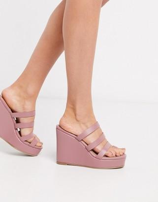 ASOS DESIGN Trial toe loop wedges in blush