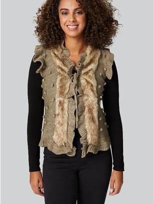 M&Co Faux Fur Sleeveless Cardigan