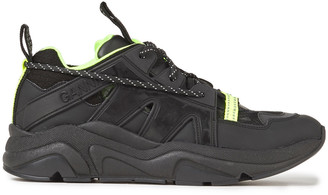 Ganni Neon-trimmed Rubber, Leather And Mesh Sneakers