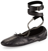 Valentino Rockstud Ballet Chain Ankle-Wrap Leather Flat, Black (Nero)