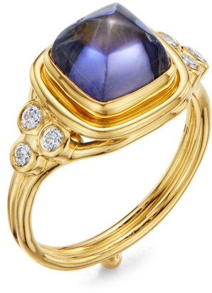 Temple St. Clair High 18K Yellow Gold, Iolite & Diamond Classic Sugar Loaf Ring