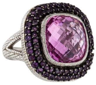 Judith Ripka Synthetic Pink Sapphire & Amethyst Cocktail Ring