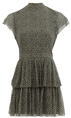 Isa Belle Sir - Isabelle Polka-dot Silk-chiffon Mini Dress - Womens - Khaki