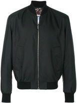 Versace collarless bomber jacket