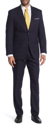 Perry Ellis Navy Plaid Two Button Notch Lapel Slim Fit Suit