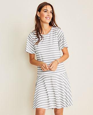 Ann Taylor Petite Striped Flounce Pocket Dress