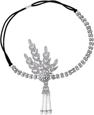 BABEYOND 1920s Flapper Headband Crystal Great Gatsby Headpiece 1920s Flapper Gatsby Accessories Leaves Simulated Tiara Headband with Pearl Tassel (Sliver)