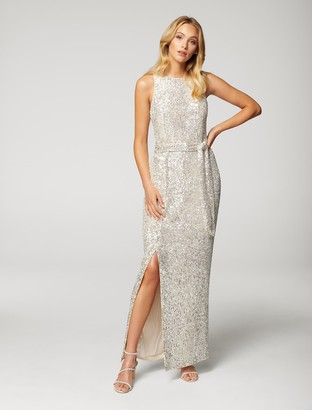 Forever New Zahara Sequin Maxi Dress - Silver - 10
