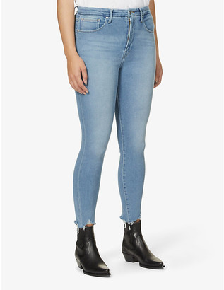Good American Good Curve skinny cropped raw-hem high-rise organic cotton-blend jeans