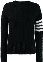 Thom Browne 4-Bar Aran Cable Pullover