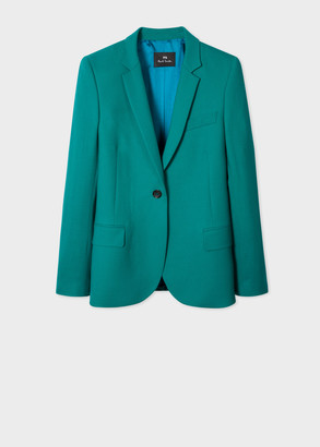 Paul Smith Women's Forest Green Wool-Hopsack Blazer With 'UFO' Print Lining