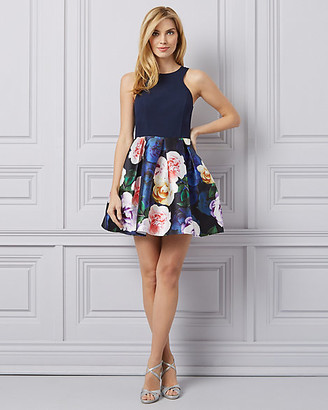 Le Château Floral Print Knit & Satin Halter Neck Dress
