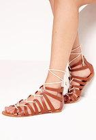 Missguided Rope Detail Flat Gladiator Sandal Tan