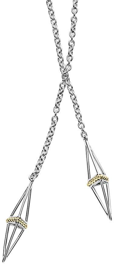 """Lagos 18K Gold and Sterling Silver Pyramid Capped Wrap Necklace, 42"""""""