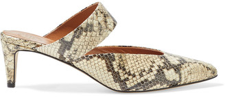 ATP ATELIER Vaie Snake-effect Leather Mules