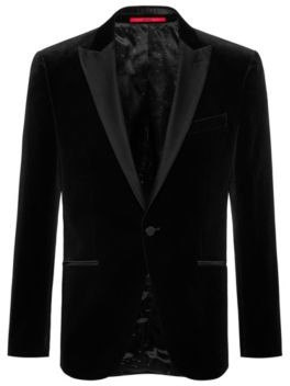 HUGO Slim-fit evening jacket in velvet