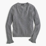 J.Crew Cable crewneck sweater with ruffle sleeves