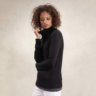 The White Company Double Layer Roll-Neck T-Shirt , Black, 4
