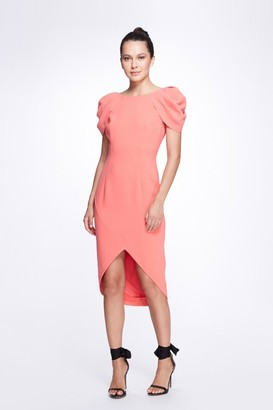 Marchesa Notte Draped Short Sleeve Stretch Crepe Cocktail Dress