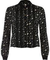 River Island Womens Black star print frill front shirt