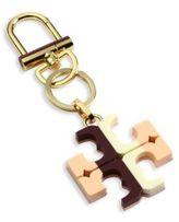 Tory Burch Striped Resin Logo Keychain