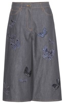 Valentino Embroidered denim culottes