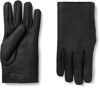 Bottega Veneta Logo-Embroidered Shearling Gloves - Men - Gray