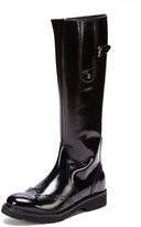 Cesare Paciotti Shiny Leather Perforated Boot