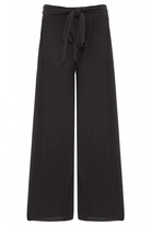 Quiz Black Pleated Tie Waist Palazzo Trousers