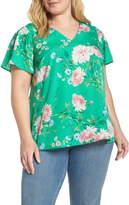 Daniel Rainn Floral Print Smocked Sleeve Top