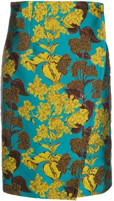 Gianluca Capannolo Floral-Jacquard Wrap Skirt