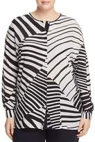 Marina Rinaldi Bandiera Mixed Stripe-Print Silk Shirt