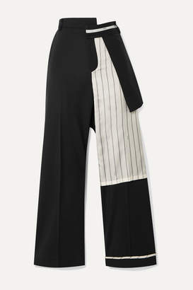 Monse Satin-trimmed Wool-blend Twill Straight-leg Pants - Black