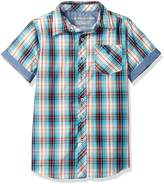 U.S. Polo Assn. Big Boys' Short Sleeve Plaid Woven Shirt